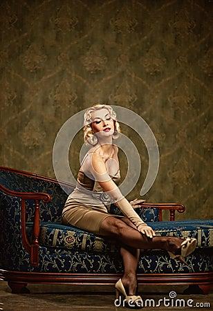 Lovely woman retro portrait.