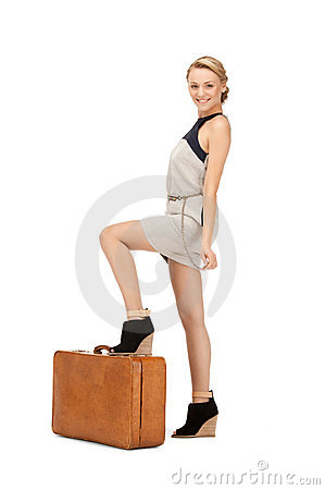Lovely woman with suitcase