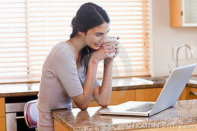 Lovely woman using a laptop