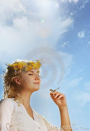 Free Lovely Woman With A Butterfly Stock Photography - 14437892