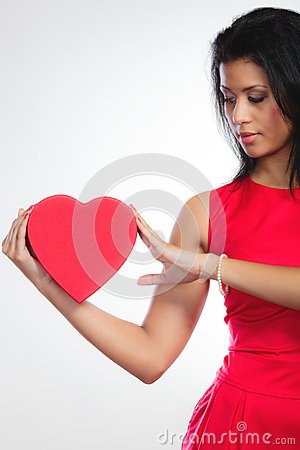 Free Lovely Woman With Red Heart Shaped Gift Box Stock Photo - 49808310