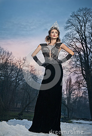 Free Lovely Young Lady Posing Dramatically With Long Black Dress And Silver Tiara In Winter Scenery. Brunette Woman With Cloudy Sky Royalty Free Stock Images - 66293209