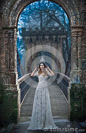Free Lovely Young Lady Wearing Elegant White Dress And Silver Tiara Posing On Ancient Bridge, Ice Princess Concept. Pretty Brunette Stock Images - 66293244