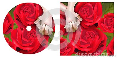 Lover Hands on Red Roses CD and DVD Template
