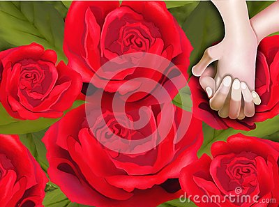 Lover Hands on Red Roses Pattern Background