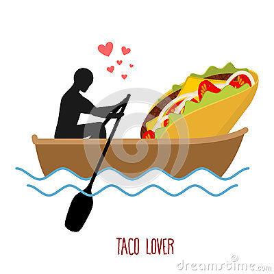 Free Lover Taco. Man And Fastfood And Ride In Boat. Lovers Of Sailing Royalty Free Stock Photos - 76024608