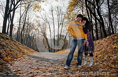 Lovers during autumn