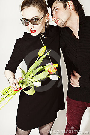 Lovers with  bouquet of tulips