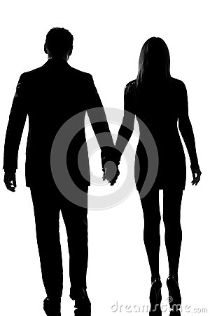 Lovers couple man woman walking hand in hand