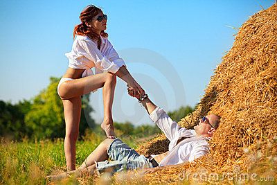 Lovers on hayloft