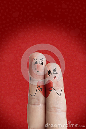 Free Lovers Is Embracing And Holding Red Heart. Happy Valentines Day Theme Series. Stock Image Royalty Free Stock Photo - 48803705