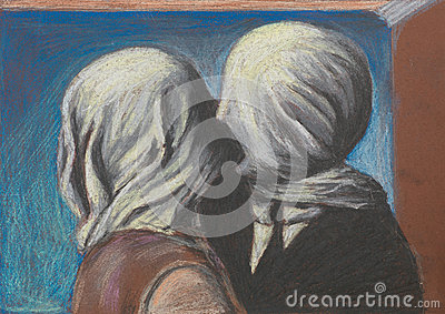 Lovers Kiss Pastel Drawing Reproduction Royalty Free