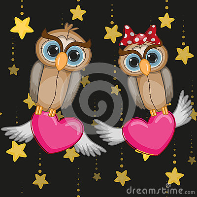 Lovers Owls Vector Illustration