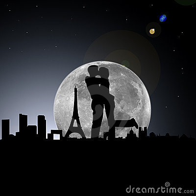 Lovers in paris night with moon
