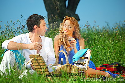 Lovers on picnic