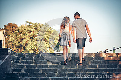 Lovers on romantic walk