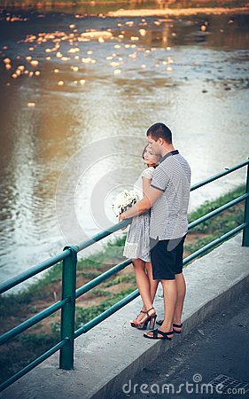 Lovers on romantic walk