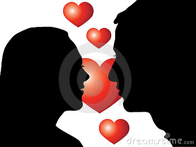 Lovers silhouette with heart