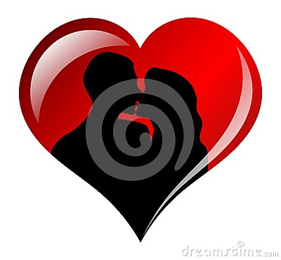 Lovers Silhouette in Heart Frame