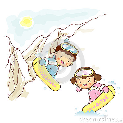 Lovers of snowboarding trip