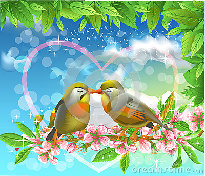 Loving birds kissing on a branch