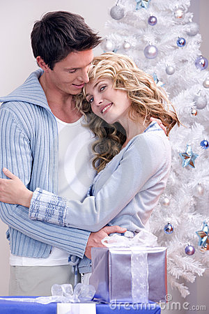 A loving christmas couple