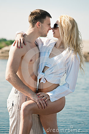 Loving couple on beach