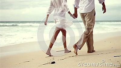 Loving couple on beach in slow motion. Loving young couple on beach in slow motion stock video footage