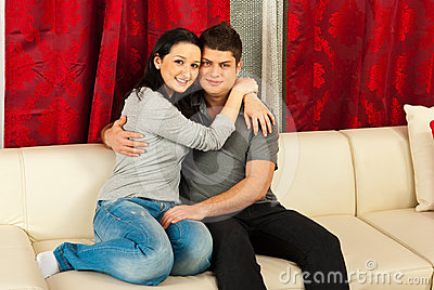 Loving couple on couch