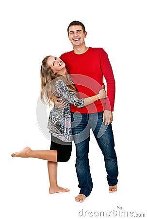 Loving couple embracing in studio