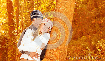 Loving couple in forest