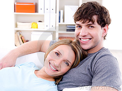Loving couple with happy smile