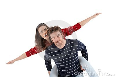 Loving couple having fun laughing