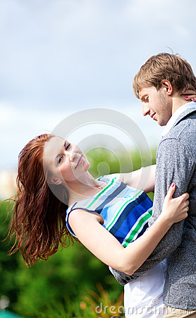 Loving couple is hugging
