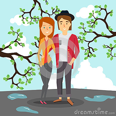 Free Loving Couple In Spring On The Background Of The Puddles And The Blossoming Trees. Stock Images - 96596964