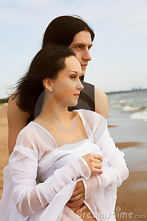 Loving couple near the sea