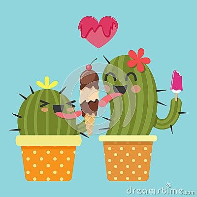 Free Loving Couple Of Cactus With Ice Cream Stock Photo - 51954060