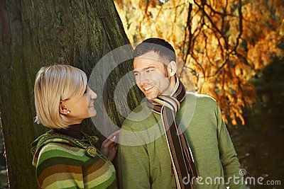 Loving couple in park