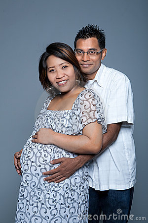 Loving couple proud to be expecting their first ba