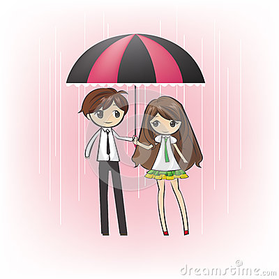 Loving Couple in the rain (vector)
