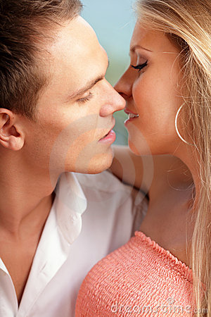 Loving couple ready to kiss