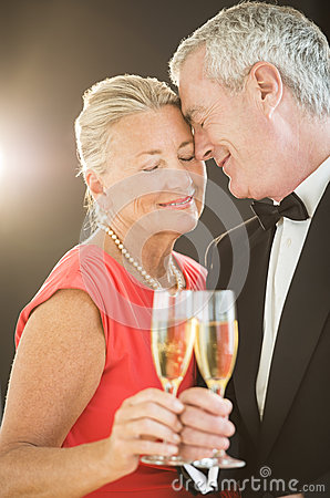 Loving Couple Toasting Champagne Flute