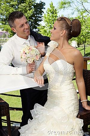 Loving couple on wedding-day