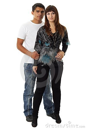Loving couple on a white background.