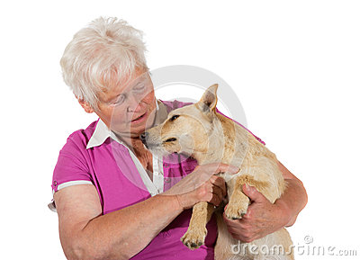 Loving elderly woman with her dog