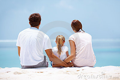 Loving family on the beach