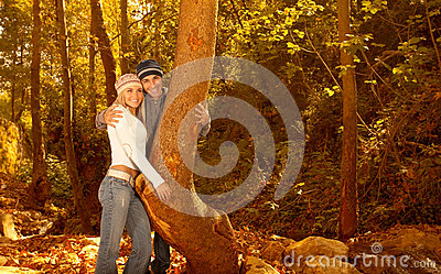 Loving family in the forest