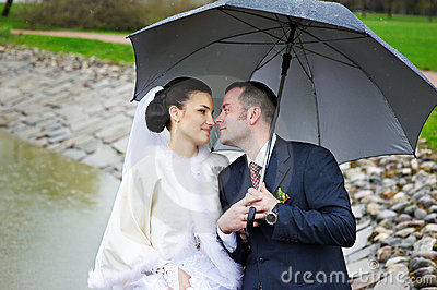 Loving gaze of bride and groom