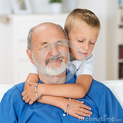 Loving grandfather and grandson