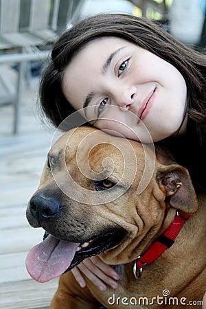 Loving her dog